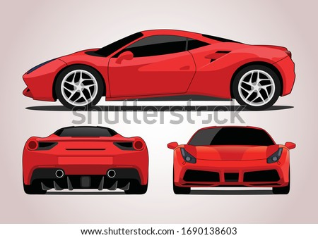 red sports car  view from three
