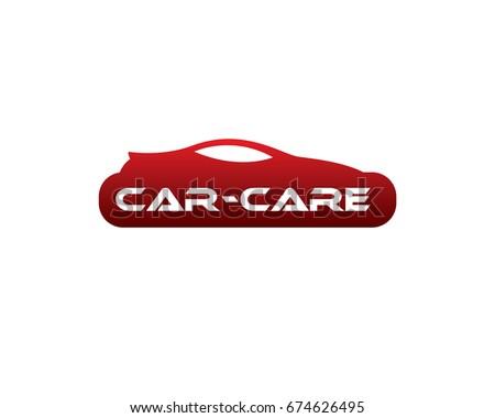 red sporty car care auto mobile emblem logo