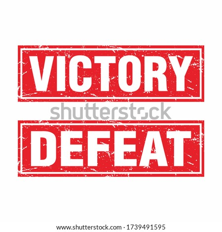 Red Square Grunge Rubber Stamp with Text Victory and Defeat Template Vector Stock photo ©