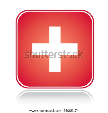 Red square sign swiss cross over white
