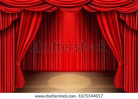Red stage curtain and wooden floor realistic vector. Theater, opera scene drape backdrop, concert grand opening or cinema premiere backstage, portiere for ceremony performance template 3d illustration Stockfoto ©