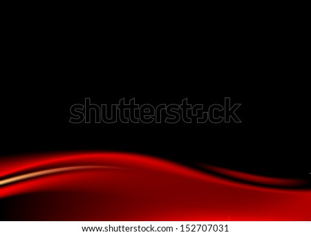 Red stage curtain on black background. Empty template paper size a4 horizontal format. Blank backdrop with wave strip in dark style. Vector illustration design element save in 8 eps - stock vector