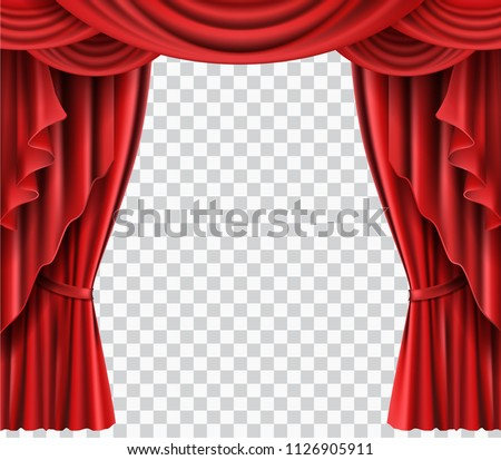 Red Stage Curtain Realistic Vector Illustration For Theater Or Opera Scene Backdrop Concert Grand Opening