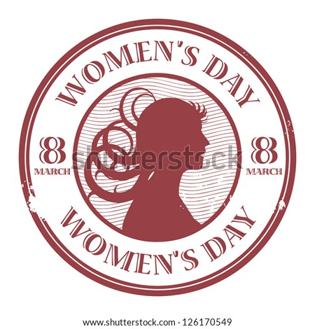 Red stamp with the text Women's Day written inside, vector illustration