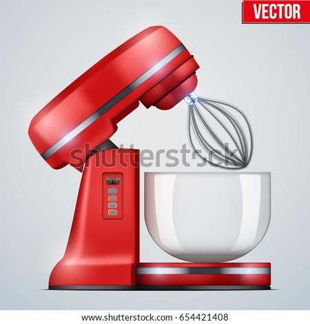 Red Stand Mixer. Opened Food blender. Electronic Kitchen appliance. Realistic Original design. Concept of Health food and drink. Vector Illustration isolated on background.