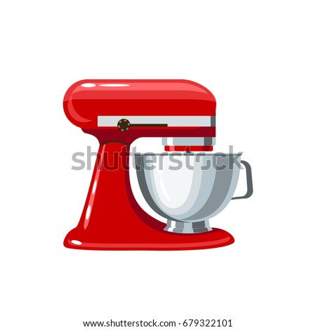 red stand mixer with metal bowl