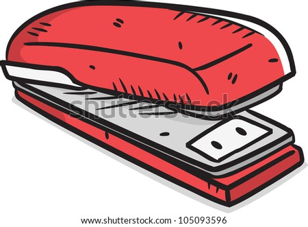 red stapler in doodle style