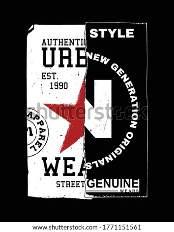 red star and N letter. illustration for t-shirt. Foto stock ©