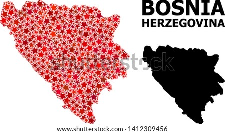 red star mosaic and solid map