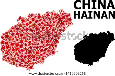 Red star mosaic and solid map of Hainan Island. Vector geographic map of Hainan Island in red color variations. Abstract mosaic is designed from random flat star items.