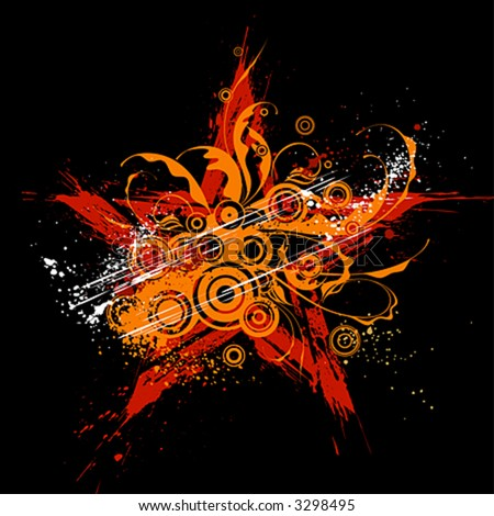 stock vector : red star on black background and orange grunge flowers