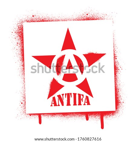 Red star spray paint graffiti stencil and ANTIFA quote. Common name for militant and radical antifascists, communists, leftists and anarchists. Photo stock ©