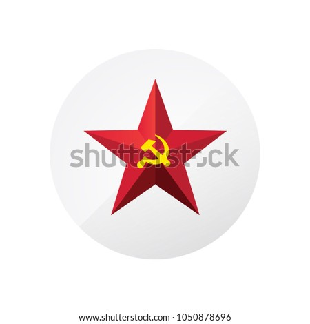 red star with a sickle and a