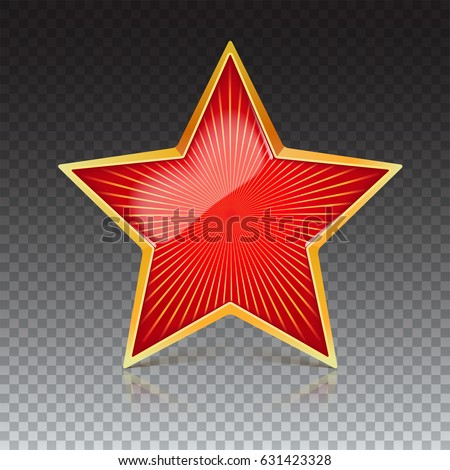red star with gold metal rim