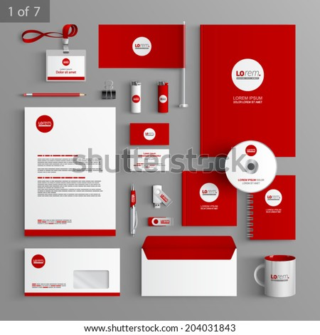 stock-vector-red-stationery-template-design-with-round-element-documentation-for-business