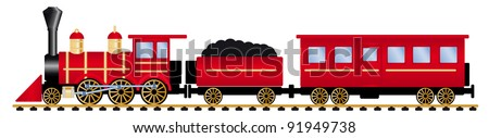 red steam locomotive with wagons, vector illustration