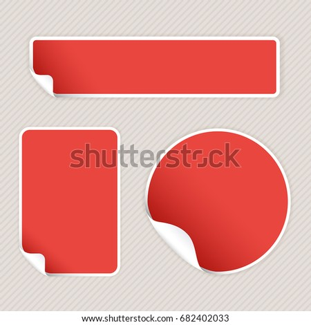 Red stickers on beige striped background. Vector 3d illustration #682402033