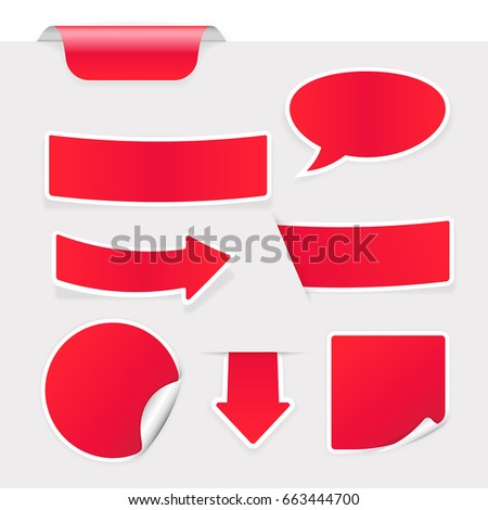 Red stickers on gray background. Vector 3d illustration #663444700