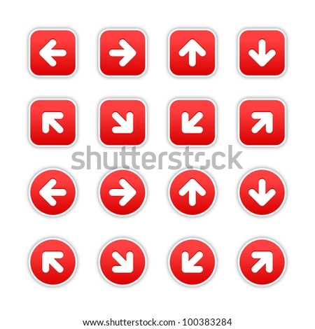 Red stickers with arrow sign. Circles and rounded square shapes with gray drop shadow on white background. This vector illustration saved in 10 eps.