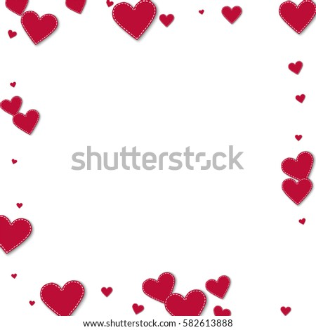 Red stitched paper hearts. Square scattered border with red stitched paper hearts on white background. Vector illustration. #582613888