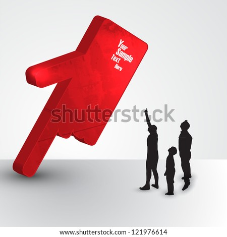 Red Stone finger with family vector illustration - stock vector