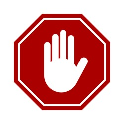 Red Stop Hand Block Octagon Sign or Adblock or Do Not Enter Icon. Vector Image.