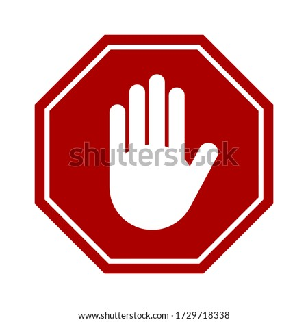 Red Stop Hand Block Octagon Sign or Adblock or Do Not Enter or Forbidden Icon. Vector Image. Stock foto ©