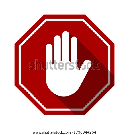 Red Stop Hand Block Octagon Sign or Adblock or Do Not Enter or Forbidden Icon with Shadow Effect. Vector Image.