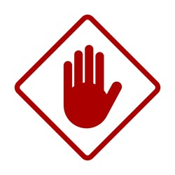Red Stop Hand Palm Block Diamond-Shaped Sign or Adblock or Do Not Enter Icon. Vector Image.
