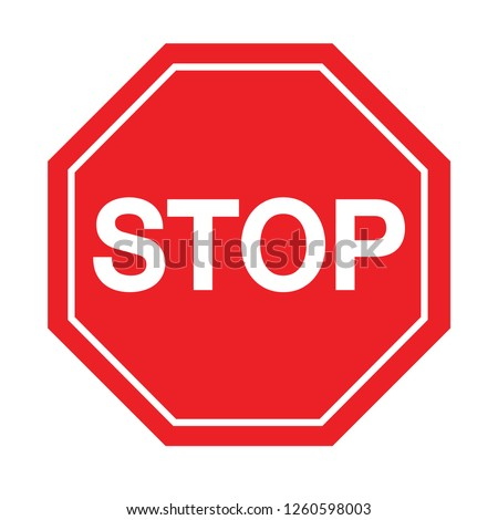 red stop sign on white background. Vector illustration. #1260598003