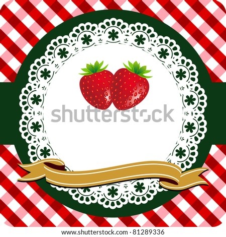 Red strawberry label on lace frame and checkered red white background, vector illustration