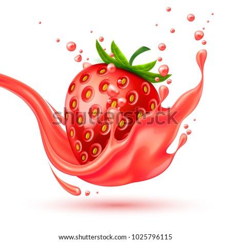 red strawberry slice juice