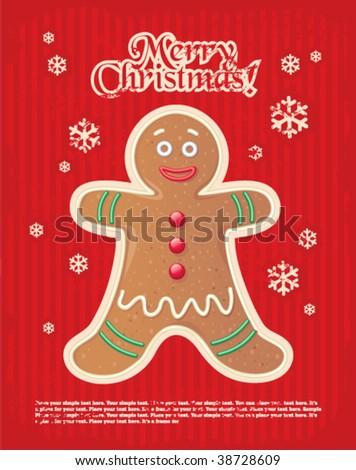 red striped Christmas and New Year's minimal simple postcard with gingerbread man and space for your text.