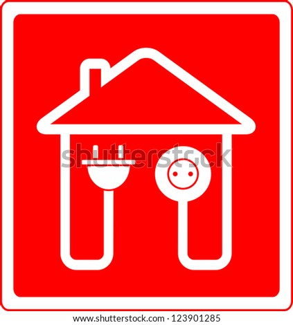 red style electrical symbol with AC outlet and plug - stock vector