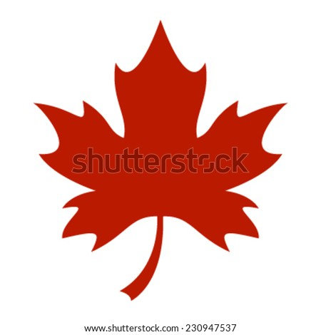 red stylized autumn maple leaf