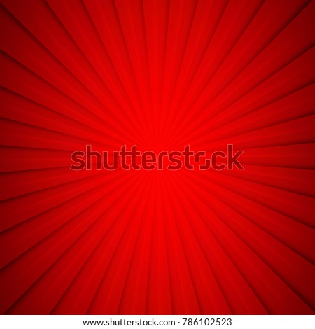 Red sun rays background - Vector
