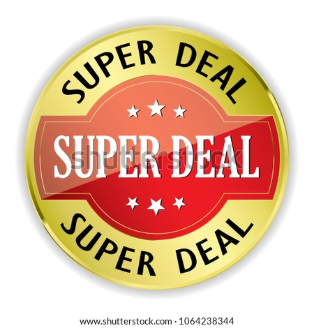 Red Super deal badge with gold border on white background.vector illustration