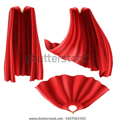 Red superhero cape, cloak with golden pin front and top view. Flying and fluttering on wind silk clothes for king, illusionist or vampire costume. Set of realistic mantle isolated on white background Stock photo ©