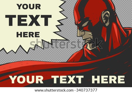 red superhero speech bubble