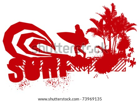 red surfer with big wave and palms #73969135