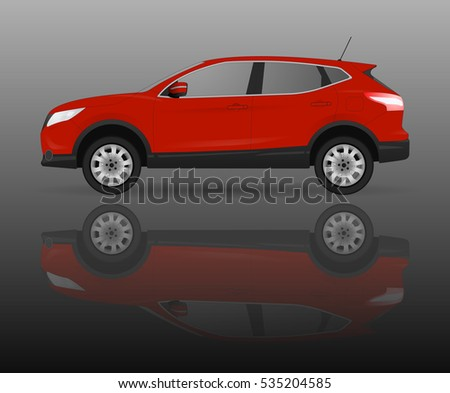 red suv car on grey background