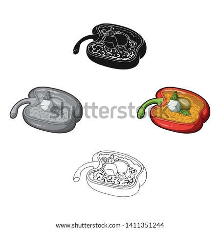 Red sweet pepper stuffed with vegetables.Healthy vegetarian dish.Vegetarian Dishes single icon in cartoon,black style vector symbol stock illustration.