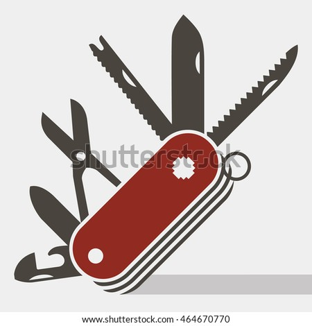 Red swiss army knife flat icon vector