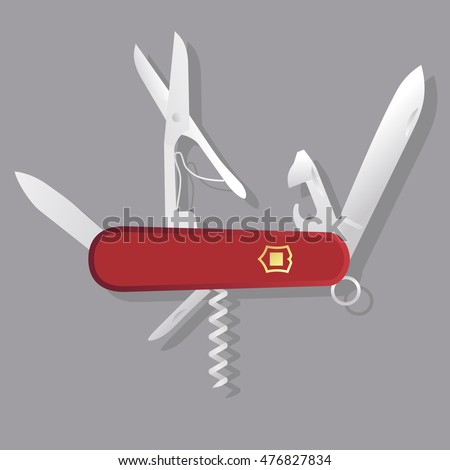 Red Swiss knife, red multi-tool, multipurpose penknife isolated vector; Multifunctional tool