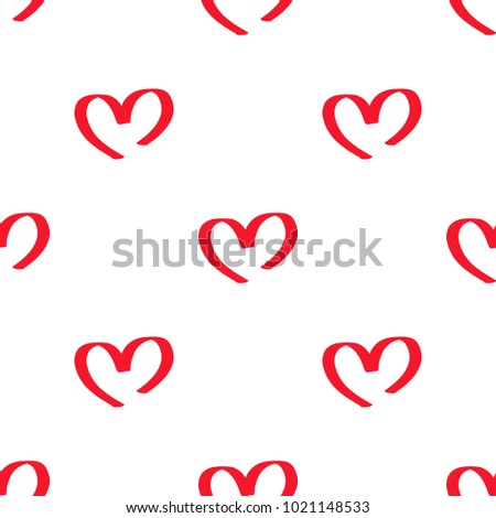 Red symbolic hearts seamless pattern