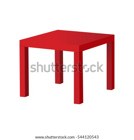 Red table Ikea isolated on white background. Vector illustration