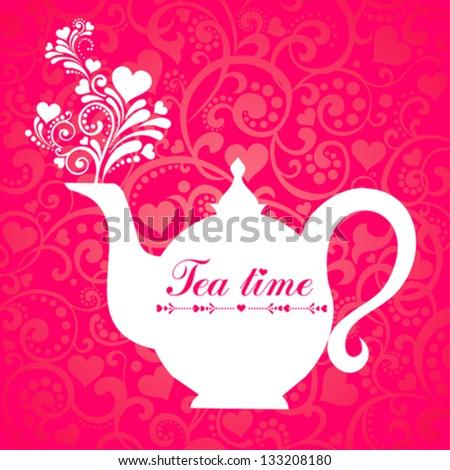 Red Tea. Teapot.  Vector Illustration
