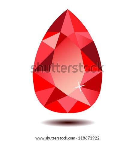 Red Teardrop Gemstone Vector EPS10