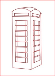 Red telephone booth. Great Britain symbol. London. street, vector