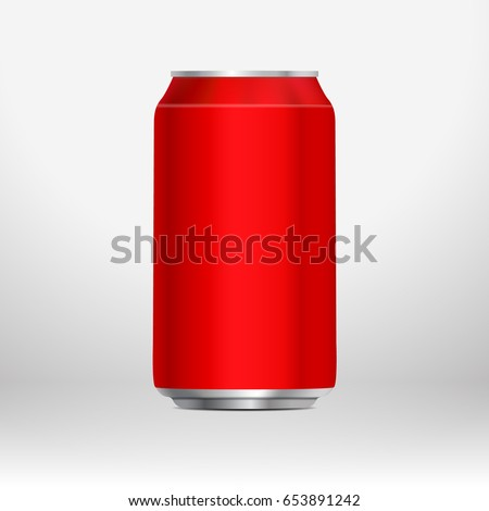 Red template can. Vector illustration. Mockup can. Template can.